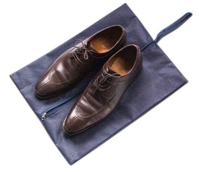 Объемная сумка-пыльник для обуви на молнии - Цвет синий