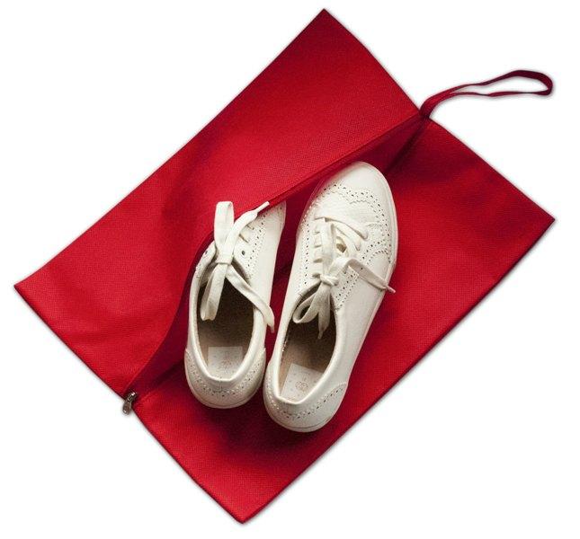Объемная сумка-пыльник для обуви на молнии - Цвет красный