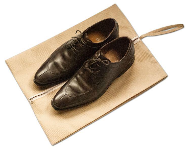 Объемная сумка-пыльник для обуви на молнии - Цвет бежевый