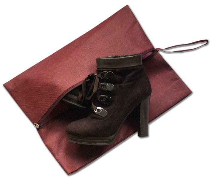 Объемная сумка-пыльник для обуви на молнии - Цвет винный