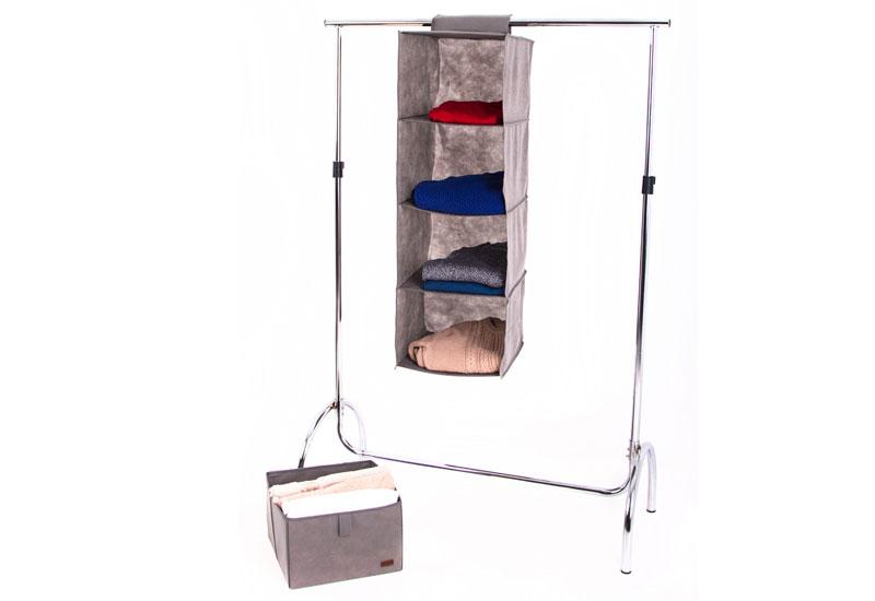 Подвесная полка-органайзер для вещей с ящиком L - Цвет серый