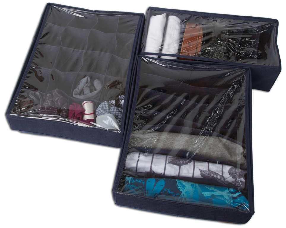 Комплект органайзеров из 3 шт с крышкой - Цвет джинс
