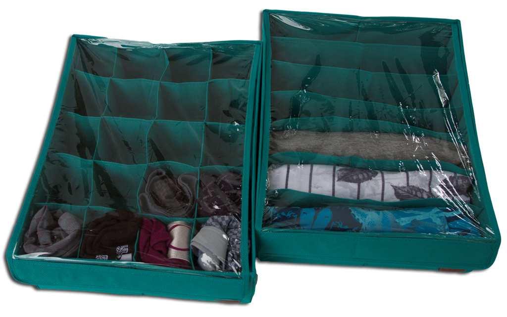 Комплект органайзеров из 2 шт с крышкой - Цвет лазурь