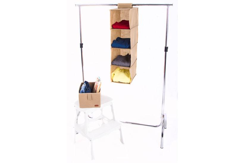 Подвесная полка-органайзер для вещей с ящиком M - Цвет бежевый