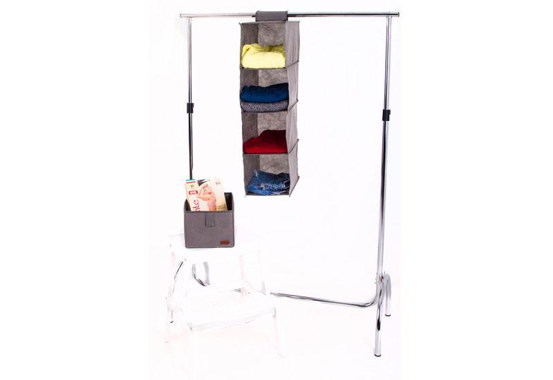 Подвесная полка-органайзер для вещей с ящиком M - Цвет серый