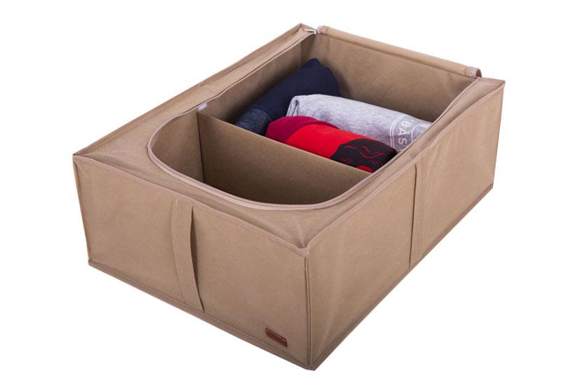 Короб для хранения вещей со съемной перегородкой - Цвет бежевый